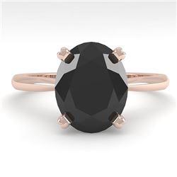 5.0 CTW Oval Black Diamond Engagement Designer Ring 18K Rose Gold - REF-143N8Y - 32450