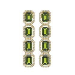 12.41 CTW Tourmaline & Diamond Halo Earrings 10K Yellow Gold - REF-198N2Y - 41449