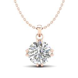 1 CTW VS/SI Diamond Solitaire Art Deco Stud Necklace 18K Rose Gold - REF-294M2H - 36915