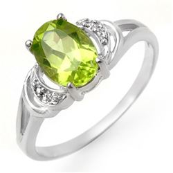 1.55 CTW Peridot & Diamond Ring 10K White Gold - REF-12M9H - 13462