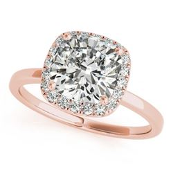 1.15 CTW Certified VS/SI Cushion Diamond Solitaire Halo Ring 18K Rose Gold - REF-429N6Y - 27220