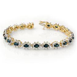 12.0 CTW Blue Sapphire & Diamond Bracelet 14K Yellow Gold - REF-327X3T - 14443