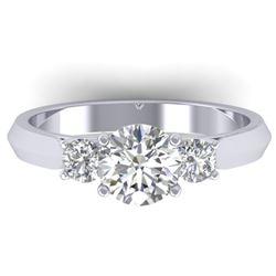 1.5 CTW Certified VS/SI Diamond Solitaire 3 Stone Ring 14K White Gold - REF-395W5F - 30312
