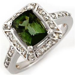 2.40 CTW Green Tourmaline & Diamond Ring 14K White Gold - REF-64F8N - 10933