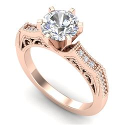 1.51 CTW VS/SI Diamond Solitaire Art Deco Ring 18K Rose Gold - REF-536W4F - 37077