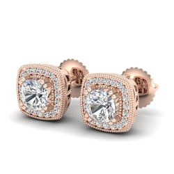 1.25 CTW Cushion Cut VS/SI Diamond Art Deco Stud Earrings 18K Rose Gold - REF-218F2N - 37035