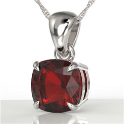1.50 Cushion Cut CTW Garnet Designer Solitaire Necklace 18K White Gold - REF-24K2W - 21943