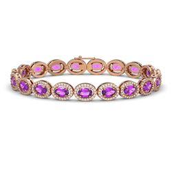 13.11 CTW Amethyst & Diamond Halo Bracelet 10K Rose Gold - REF-229N3Y - 40491