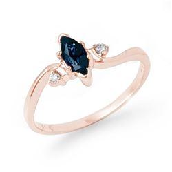 0.42 CTW Blue Sapphire & Diamond Ring 14K Rose Gold - REF-18Y4K - 13190