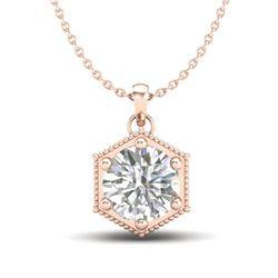 0.82 CTW VS/SI Diamond Solitaire Art Deco Stud Necklace 18K Rose Gold - REF-218A2X - 37221