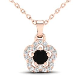 0.33 CTW Micro Pave VS/SI Diamond Necklace Moon Halo In 10K Rose Gold - REF-19K5W - 21341