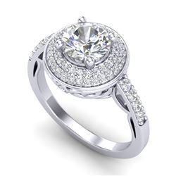1.7 CTW VS/SI Diamond Solitaire Art Deco Ring 18K White Gold - REF-436W4F - 37253