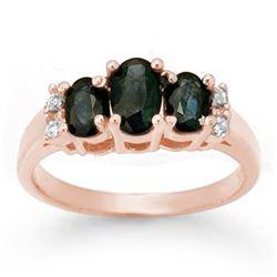 1.33 CTW Blue Sapphire & Diamond Ring 14K White Gold - REF-34N5Y - 14003