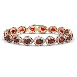 17.44 CTW Garnet & Diamond Halo Bracelet 10K Rose Gold - REF-272A2X - 41136