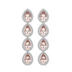 7.8 CTW Morganite & Diamond Halo Earrings 10K White Gold - REF-189M6H - 41150