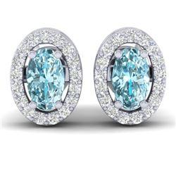 0.80 CTW Sky Blue Topaz & Micro Pave VS/SI Diamond Earrings Halo 18K White Gold - REF-29K3W - 21180