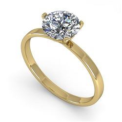 1.0 CTW Certified VS/SI Diamond Engagement Ring 18K Yellow Gold - REF-298T5M - 32227