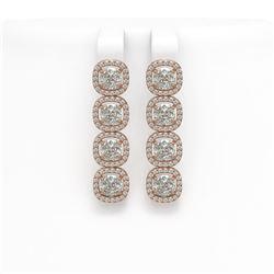 6.01 CTW Cushion Diamond Designer Earrings 18K Rose Gold - REF-1127H6A - 42720