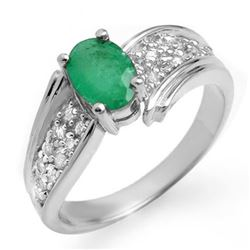 1.43 CTW Emerald & Diamond Ring 18K White Gold - REF-70A9X - 13381