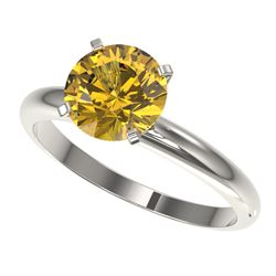 2 CTW Certified Intense Yellow SI Diamond Solitaire Engagement Ring 10K White Gold - REF-527T3M - 32