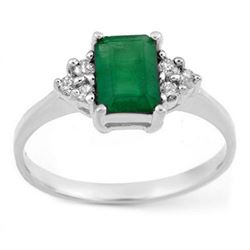 1.12 CTW Emerald & Diamond Ring 18K White Gold - REF-31W8F - 11341