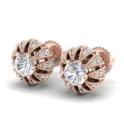 2.01 CTW VS/SI Diamond Art Deco Micro Pave Stud Earrings 18K Rose Gold - REF-272H8A - 36996