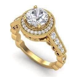 1.91 CTW VS/SI Diamond Solitaire Art Deco Ring 18K Yellow Gold - REF-543W6F - 36976