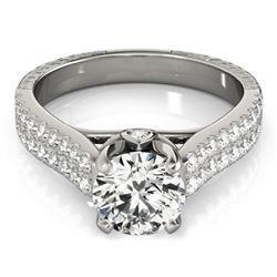 1.61 CTW Certified VS/SI Diamond Pave Ring 18K White Gold - REF-402M2H - 28097
