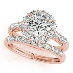 2.14 CTW Certified VS/SI Diamond 2Pc Wedding Set Solitaire Halo 14K Rose Gold - REF-259A5X - 30739