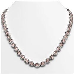 31.96 CTW Morganite & Diamond Halo Necklace 10K White Gold - REF-604X2T - 40412