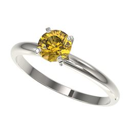 0.75 CTW Certified Intense Yellow SI Diamond Solitaire Engagement Ring 10K White Gold - REF-118X2T -
