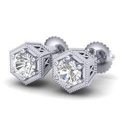 1.15 CTW VS/SI Diamond Solitaire Art Deco Stud Earrings 18K White Gold - REF-174F5N - 37217