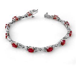 7.11 CTW Ruby & Diamond Bracelet 14K White Gold - REF-82F8N - 14010