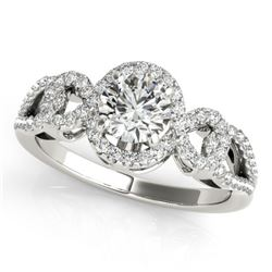 1.15 CTW Certified VS/SI Diamond Solitaire Halo Ring 18K White Gold - REF-212X2T - 26682