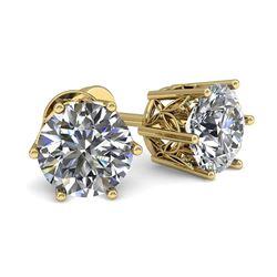 0.53 CTW Certified VS/SI Diamond Stud Solitaire Earrings 18K Yellow Gold - REF-60K8W - 35818
