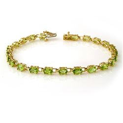 6.0 CTW Peridot Bracelet 10K Yellow Gold - REF-40X8T - 13457