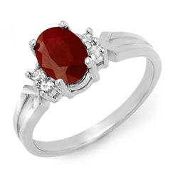 1.29 CTW Ruby & Diamond Ring 18K White Gold - REF-33A5X - 12358