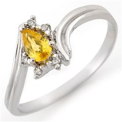 0.35 CTW Yellow Sapphire & Diamond Ring 10K White Gold - REF-13M6H - 10892