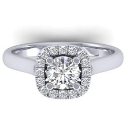 1.01 CTW Certified VS/SI Diamond Solitaire Halo Ring 14K White Gold - REF-182F9N - 30417