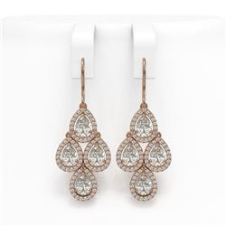 5.85 CTW Pear Diamond Designer Earrings 18K Rose Gold - REF-1090N2Y - 42828