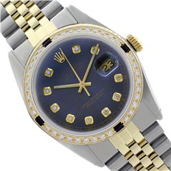 Rolex Men's Two Tone 14K Gold/SS, QuickSet, Diam Dial & Diam/Sapphire Bezel - REF-557W3H