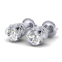 1.85 CTW VS/SI Diamond Solitaire Art Deco Stud Earrings 18K White Gold - REF-261W8F - 36857