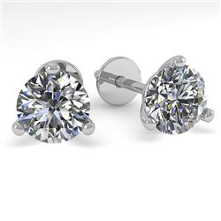 1.01 CTW Certified VS/SI Diamond Stud Earrings 18K White Gold - REF-151H8A - 32202