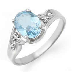 1.26 CTW Blue Topaz & Diamond Ring 18K White Gold - REF-31Y8K - 12353