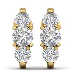 2 CTW Certified VS/SI Diamond 3 Stone Stud Earrings 14K Yellow Gold - REF-230M4H - 30479