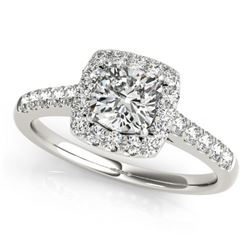 1.45 CTW Certified VS/SI Cushion Diamond Solitaire Halo Ring 18K White Gold - REF-452M8H - 27126
