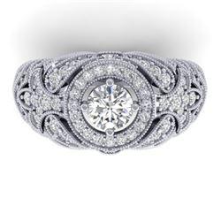2.35 CTW Certified VS/SI Diamond Art Deco Halo Ring 14K White Gold - REF-293T3M - 30408