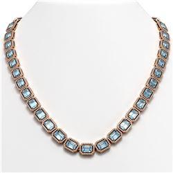 54.79 CTW Aquamarine & Diamond Halo Necklace 10K Rose Gold - REF-896M9H - 41355