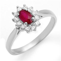 0.51 CTW Ruby & Diamond Ring 18K White Gold - REF-27F3N - 12620