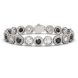 15.47 CTW Black & White Diamond Designer Bracelet 18K White Gold - REF-1561F8N - 42698